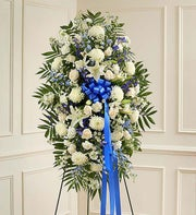 Deepest Sympathies Standing Spray - Blue & White