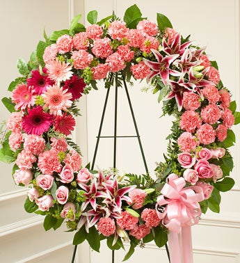 Serene Blessings Standing Wreath - Pink