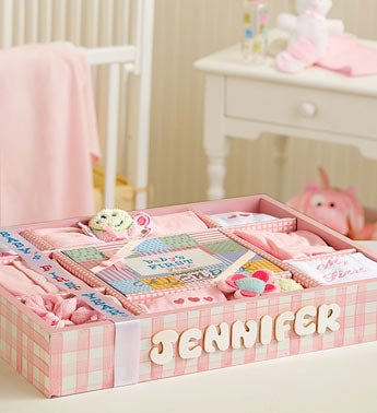 Personalized New Baby Girl First Year Gift Set