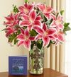 Elegant Tribute Lilies in Cross Vase