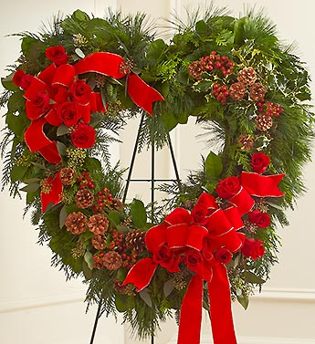 Sympathy Standing Open Heart in Christmas Colors