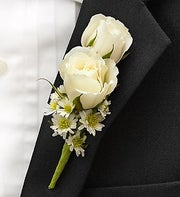 All White Ring Bearer Boutonni�re