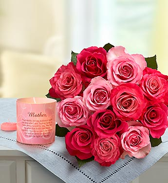 Raspberry Sorbet Roses with Pink Candle