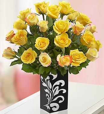 Sunshine Roses, 12-24 Stems + Free Vase