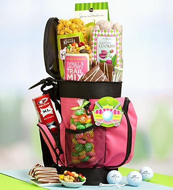 Pink Power Golf Gift Basket Cooler & Snacks