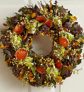 Faux Eucalyptus and Orange Slice Wreath - 16""