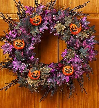 Faux Glittered Halloween Wreath