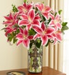 Stargazer Lilies in Cross Vase